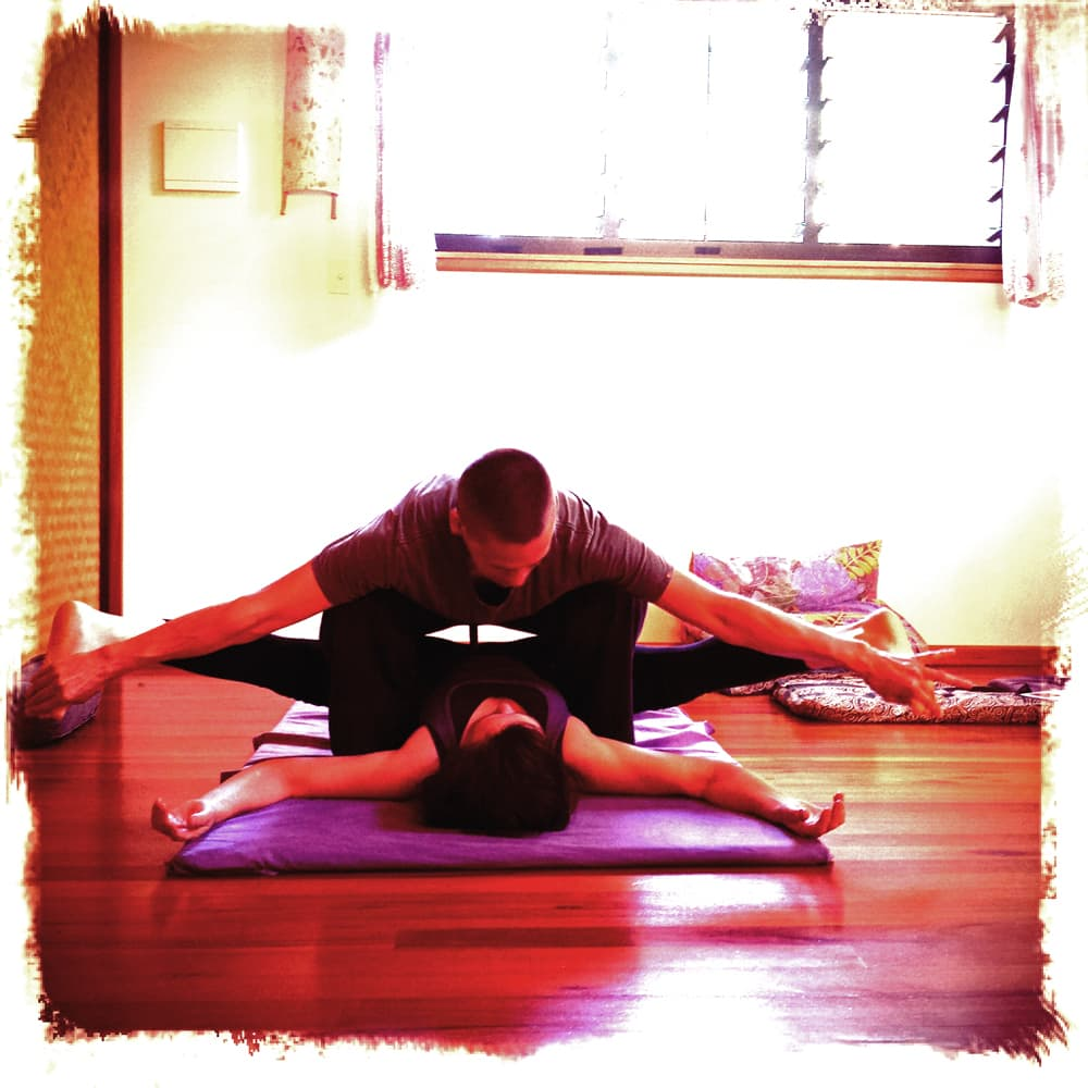 a thai massage stretch that shows how thai massage is yoga done to you. A passive, induced Yoga that releases all tension in muscles and joints.